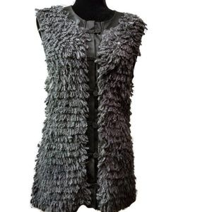 Bar III Wool Blend Vest With Faux Leather Trim